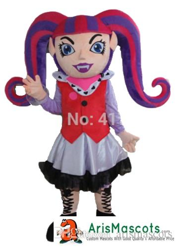 AM0322 Adult Size Vampire Draculaura Mascot costume Halloween Dress Holiday Mascots Cartoon Mascot Costumes for Kids Birthday Party Custom