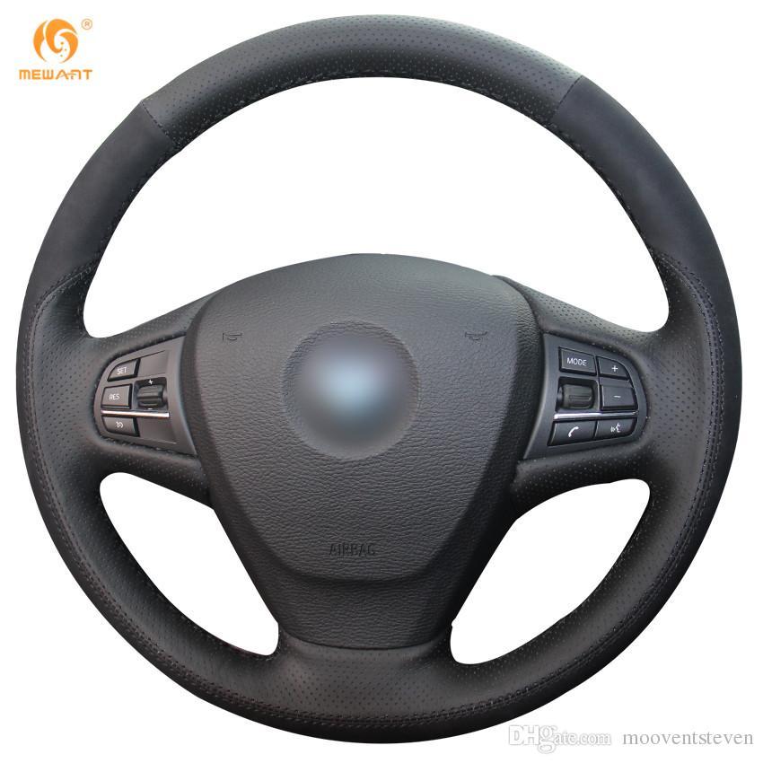 Bmw Z4 Steering Wheel Cover: Mewant Black Genuine Leather Black Suede Car Steering
