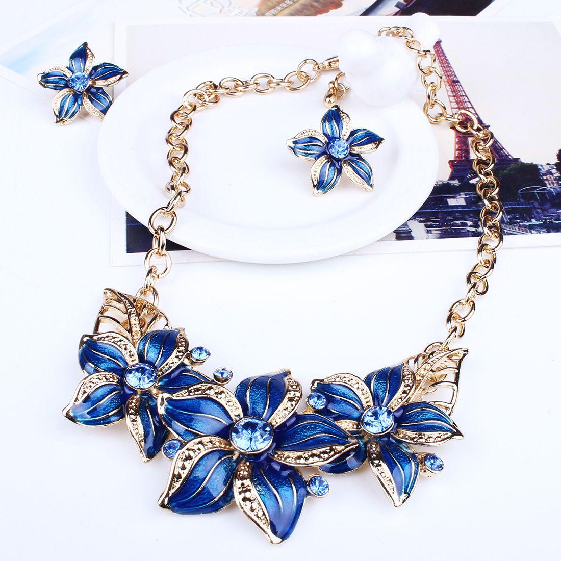 Imitation Pearl Jewelry Sets Maxi Necklaces & Pendants Stud Earrings Set for Women Gold/Silver Statement Parure Bijoux Femme