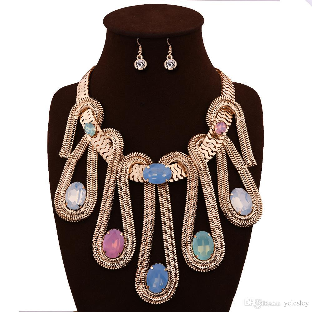 Jewelry Sets For Women Gold Plated African Beads Jewelry Set Party Accessories Necklace Earring Earrings Foliage Silver Plated Jewelry Sets