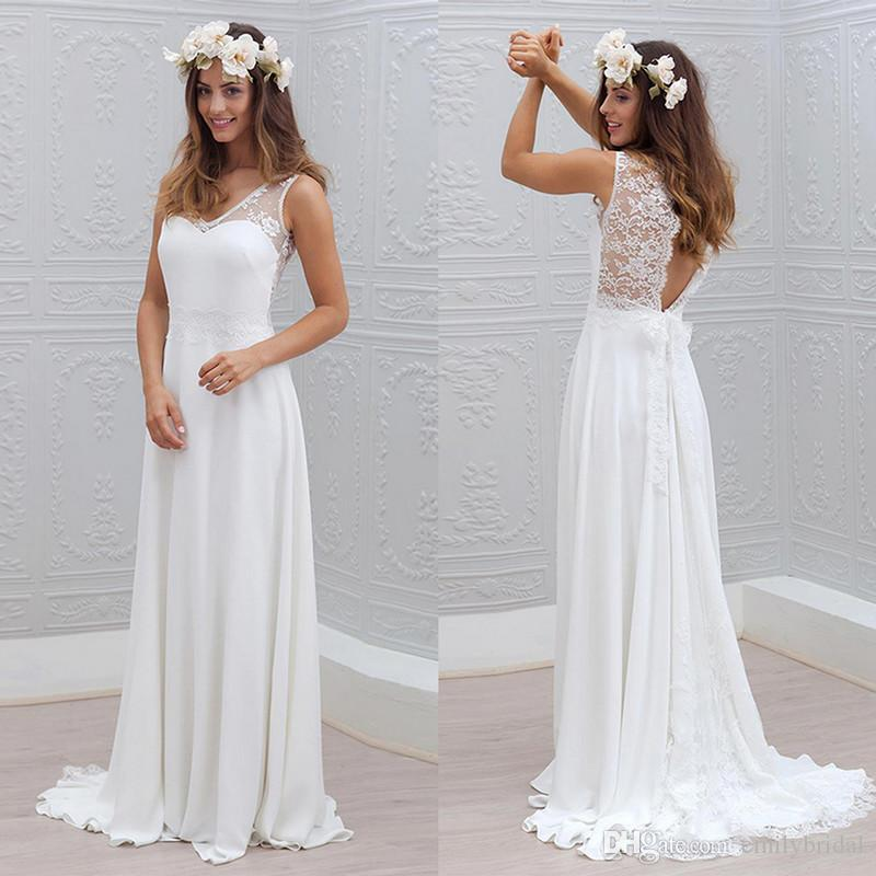 Discount Bohemian French Lace Chiffon Beach Bridal Gowns