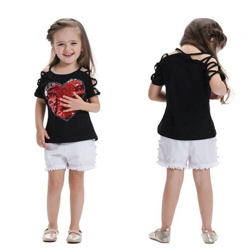 03deed5c07 Summer Baby Girls T-shirt Children Suspenders Tops Fashion Red Heart  Sequins T-shirt Tees Kids Shoulderless T-shirt 142 Online with  9.14 Piece  on ...