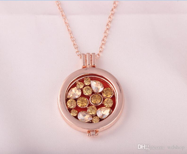 Aromatherapy Locket Necklace Gold Color With Full AAA Crystal Pendant Oil Essential Diffuser Necklace For Women