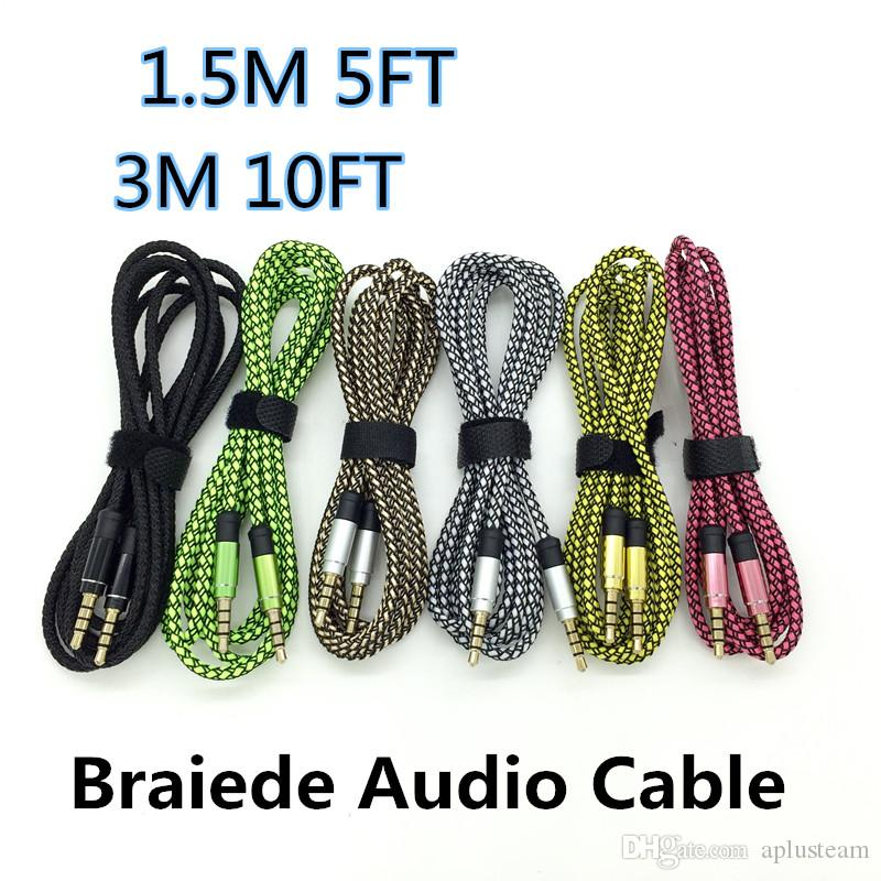 1.5M 3M 10FT Car Audio AUX Extension Cable Braided Wired Line Auxiliary Stereo Jack 3.5mm Male Lead for Apple Andrio Mobile Phone Speaker