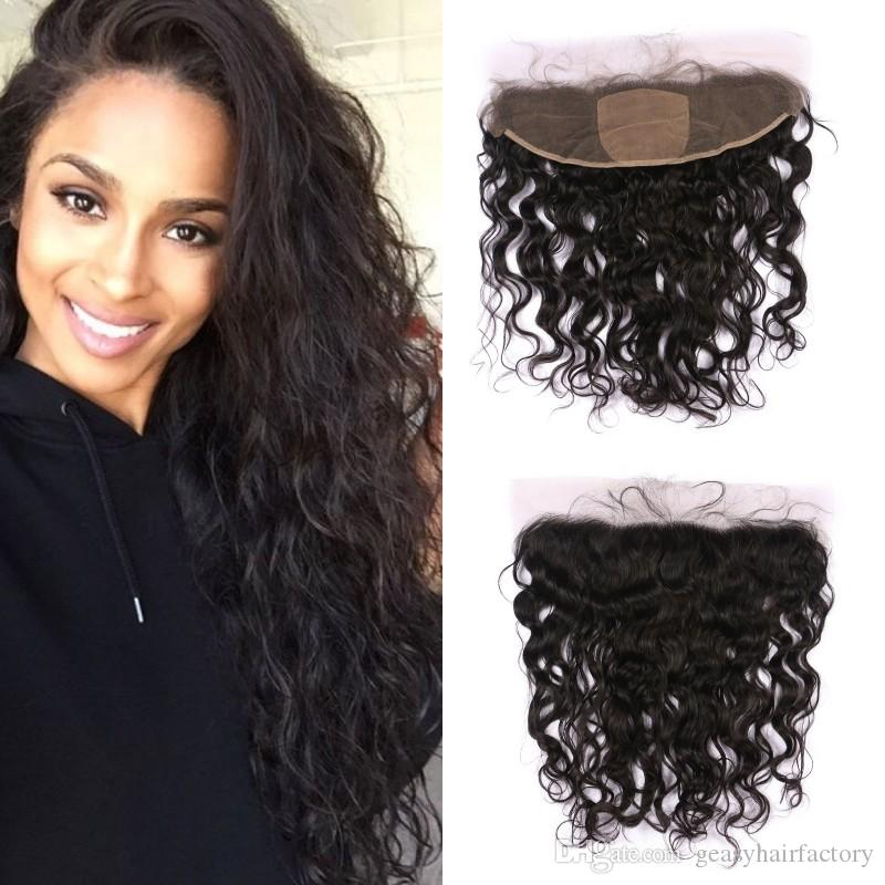 Virgin 13x4 Silk Lace Frontal Closure Bleached Knots 100% Human Hair Brazilian Water Wave Silk Base Frontal LaurieJ Hair