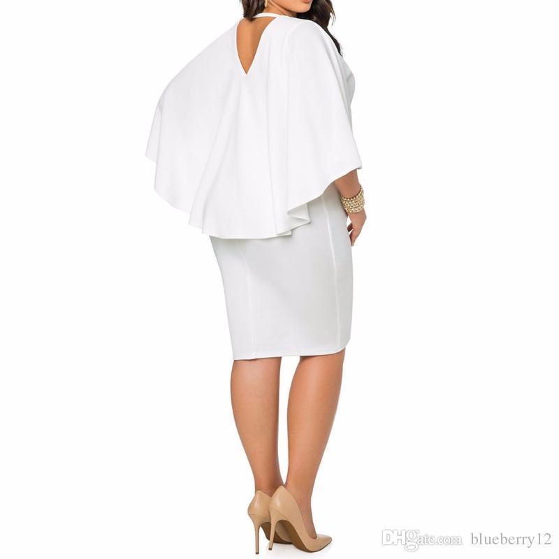 Mode Frauen Kleid Plus Größe L / XL / XXL / XXXL Damen Flügelhülse V-ausschnitt Cape Bodycon Verband Midi Party Vestidos