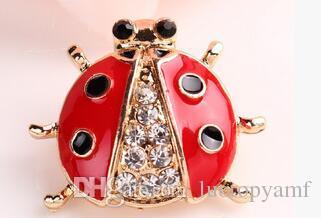 Nowa Moda Akcesoria Biżuteria Broszka Zwierząt Broszki Rhinestone Czerwona Biedronka Broszka Dla Kobiet Dziewczyna Biżuteria