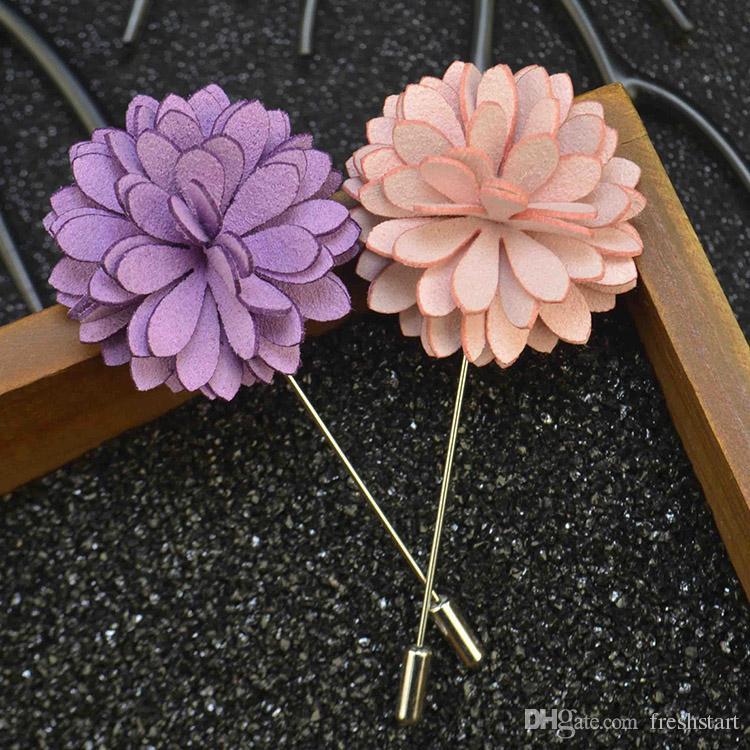 7110a88ba4388 Flower Brooch Handmade Microfiber Leather Boutonniere Stick Brooch Pin Men  s Accessories Men Women Suit Lapel Pin Brooches