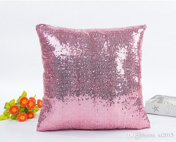 Home Print Throw Sofa Cushion Cover Solid Pillowcase Sequin Glitter Home Sofa Bed Car Magic Mermaid Pillow Case wa4139