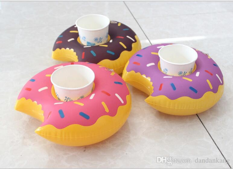 Fast Inflatable donuts coke Phone Cup Holder Water Inflatable toys decorations 18cm Drink Botlle Holder
