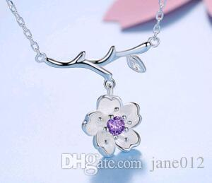 Wholesale cute sweet simple flower pendant necklace 925 sterling wholesale cute sweet simple flower pendant necklace 925 sterling silver branch cherry blossoms collarbone necklace jewelry top quality white gold pendant mozeypictures Image collections