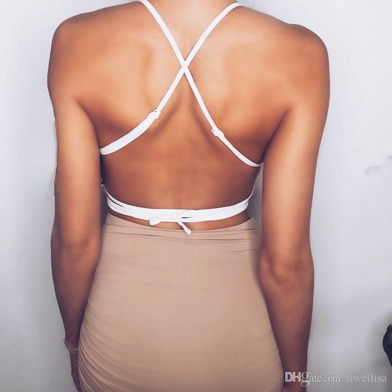 펑시 패션 섹시한 중공 플로랄 Bralett 캐주얼 탑 여성 자르기 위로 블라우스 Camisa Backless Lace Bralette Undreware