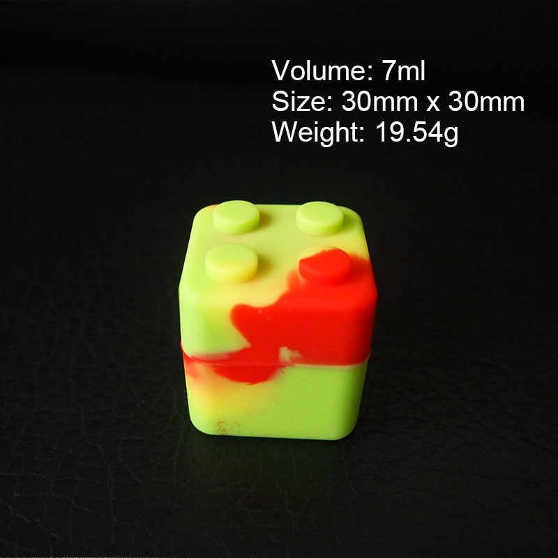 7ml Square Silicone Wax Containers Jars Non-Stick Silica Gel Dab Dabber Tool Case Vape Oil Dry Herb Holder Food Grade FDA SGS Pass