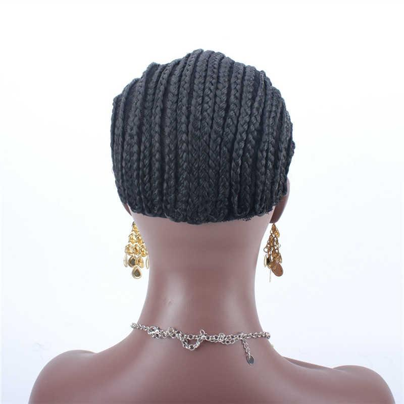 Fast Shipping Cornrows Cap For Easier Sew In Braided Wig Caps Crotchet Black Color High Quality Guarantee stretch black