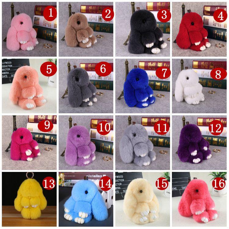 2019 Wholesale Rex Rabbit Furs Keychain Pendant Pom Pom Bag Car Charm Tag  Cute Mini Rabbit Toy Doll Keychains From Aaafur ce6d355e555e0