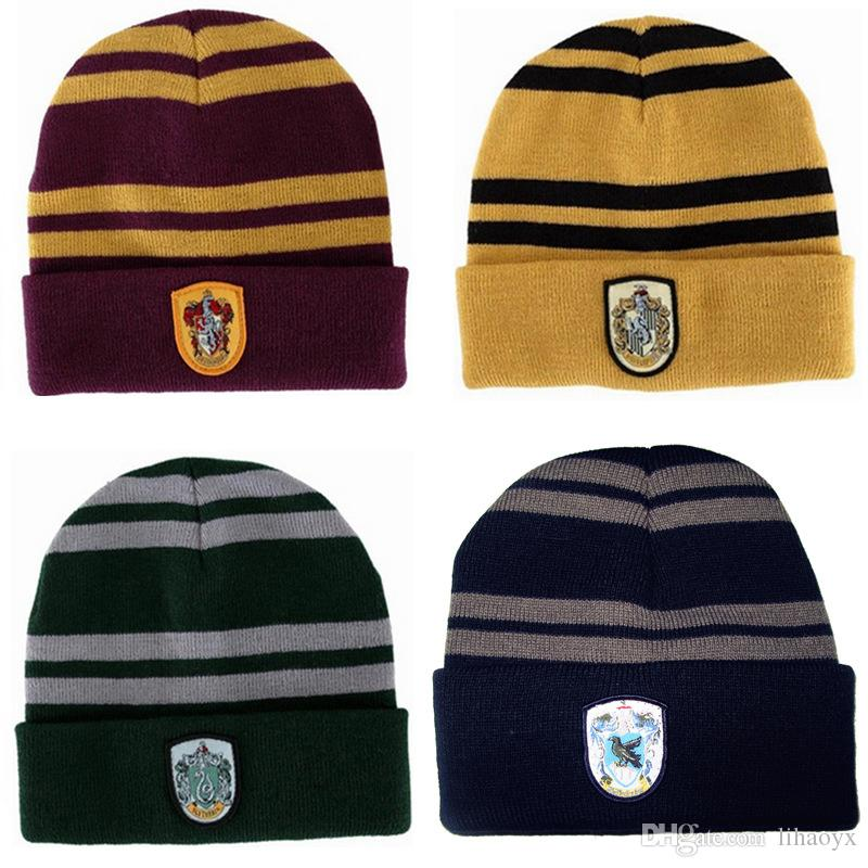 a8144484e36 Harry Potter Caps Gryffindor Slytherin Ravenclaw Hufflepuff Cosplay Gorro  Hat Men Women Hat Warm Winter Cap B917 Cap Shop Knitted Hat From Lihaoyx