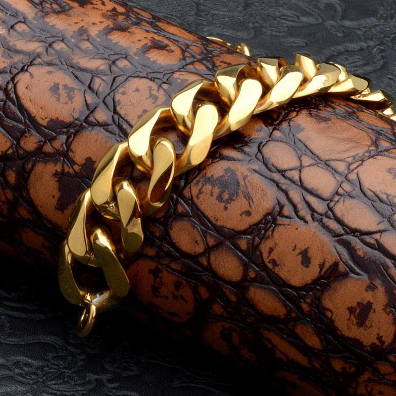 316L Stainless Steel Men Jewlery Fashion Cuban Link Chain Bracelets Punk Bangle Twisted Pulsera Gold 22cm*1.5cm