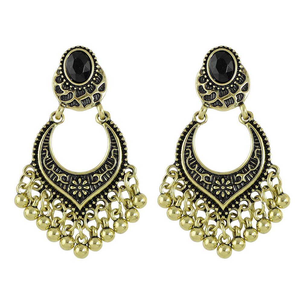2018 Latest Design Fashion Jewelry Antique Alloy Tassels Earrings Tibetan Design Metal Beads Big