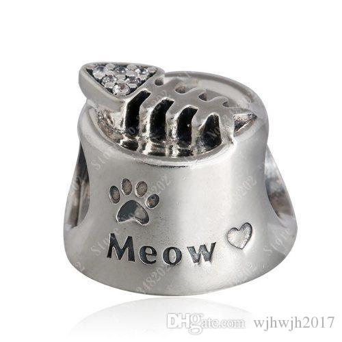 ebd92cb08 2019 Fits Pandora Bracelets Cat Bowl Charm Beads Original 925 Sterling  Silver Clear Crystal Fish Bone Meow Bead Diy Fine Jewelry HB334 From  Wjhwjh2017, ...
