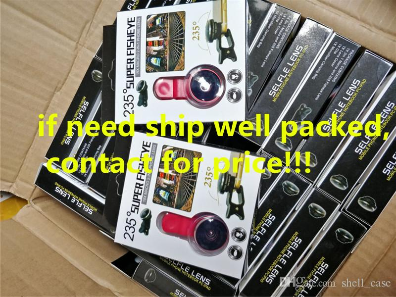 Universal clip 235 super fisheye lens with 19x macro photo lens 2in1 kit fish eye selfie lens for iphone 6 7 samsung s7 s8 ipad free DHL