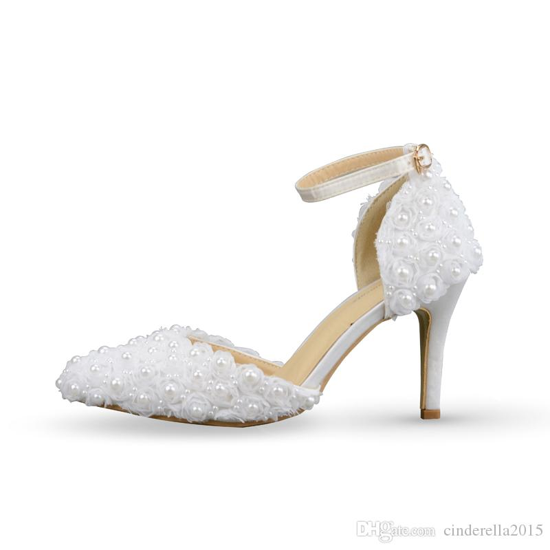 2017 Newest Elegant White Lace With Pearls Flowers Decoration Buckle Strap Pointed Toe Handmake Party Prom Bridal Wedding High Heels