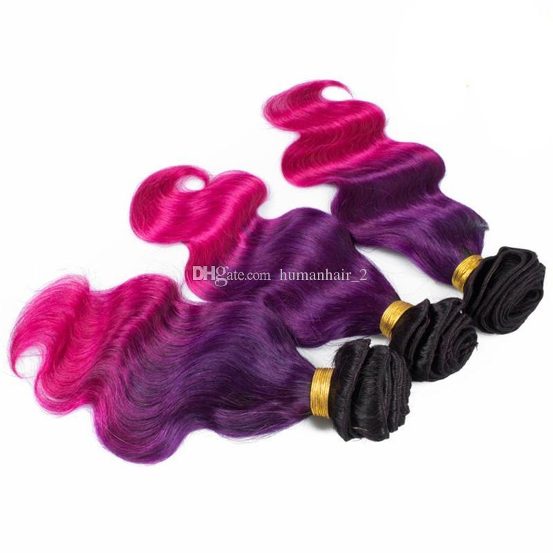 레이스 정면 폐쇄 1b와 세 톤 인간의 머리 Wefts 레이스 정면 폐쇄와 보라색 핑크 Ombre 머리 /