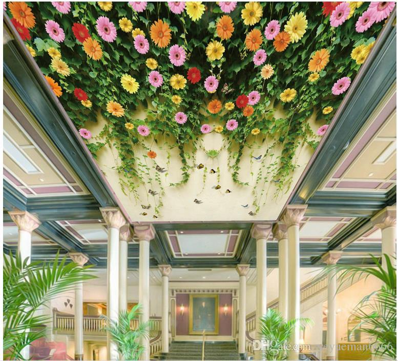 Customize 3d Wallpaper Modern Bedroom Ceiling Flowers And ...