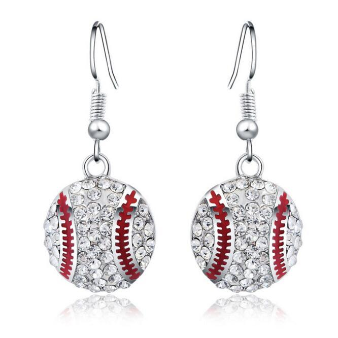Silver Earrings Earring Hot Sale CZ Crystal Baseball Dangle Earrings for Women Girl Party Fashion Jewelry Wholesale Free Shipping - 0635WH
