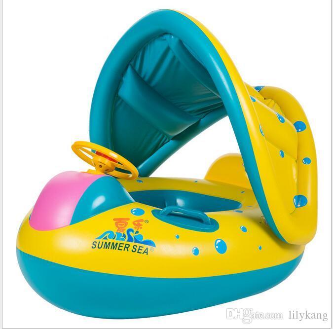 Безопасность младенца Младенческая Плавание кольцо Надувные игрушки младенца плавать бассейн сиденье лодка кольцо плавать бассейн Зонт младенца плавать Поплавок сиденья Лодка с зонтом