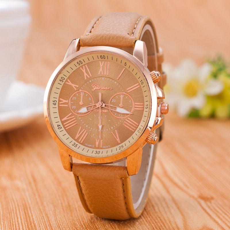 El envío libre al por mayor popular de cuero de ginebra relojes unisex para mujer para mujer damas de colores rosa y oro vestido de cuarzo relojes