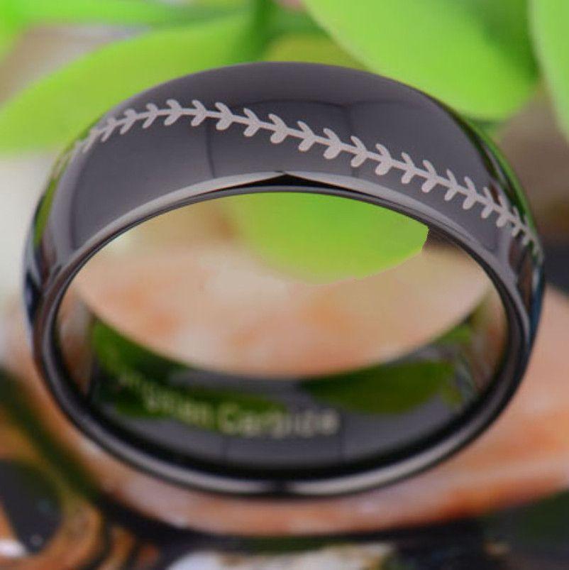 Çin Fabrika Doğrudan Toptan Siyah Lazer Gravür Tungsten Karbür Band Parmak Yüzük Moda tungsten takı yüzük 8mm