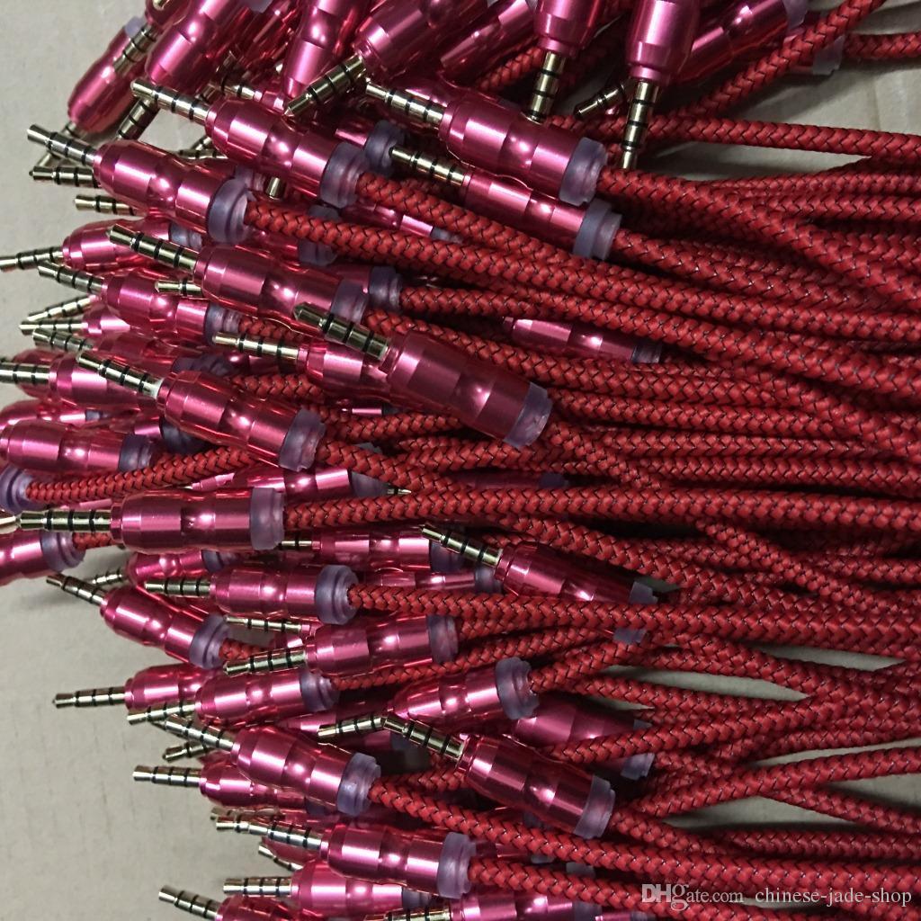 AUX-kabel Hulp gevlochten geweven stof 3.5mm mannelijk naar mannelijke kalebaskop 1m 3ft verlengkabel /