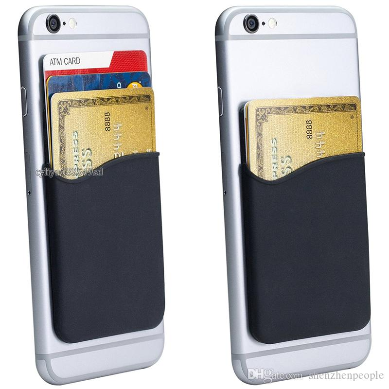 Silicone Wallet Credit Card Cash Pocket Sticker 3M Adhesive Stick-on ID Credit Card Holder Pouch Gadget For iPhone Samsung Mobile Phone