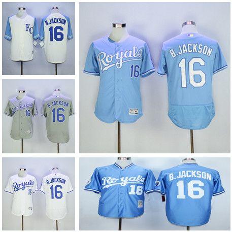 b1e69e3cb From Official Store Cheap Mens MLB Kansas City Royals 16 Bo Jackson Jerseys Majestic  Cool Base Flex Base Baseball ...