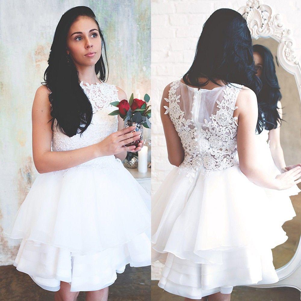 Civil Wedding Ideas: Discount Elegant White Lace Wedding Dresses Jewel Neck
