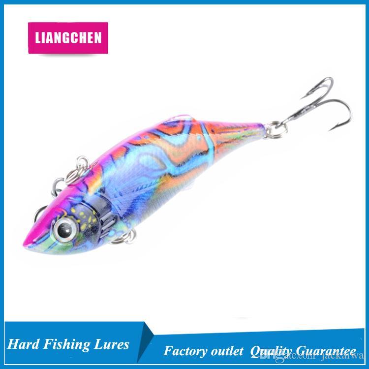 Shiiping gratis 8CM 11.8g 6 # ganchos coloreado revestimiento de dibujo VIB plástico señuelos de pesca de pesca duro cebos bionic cebo