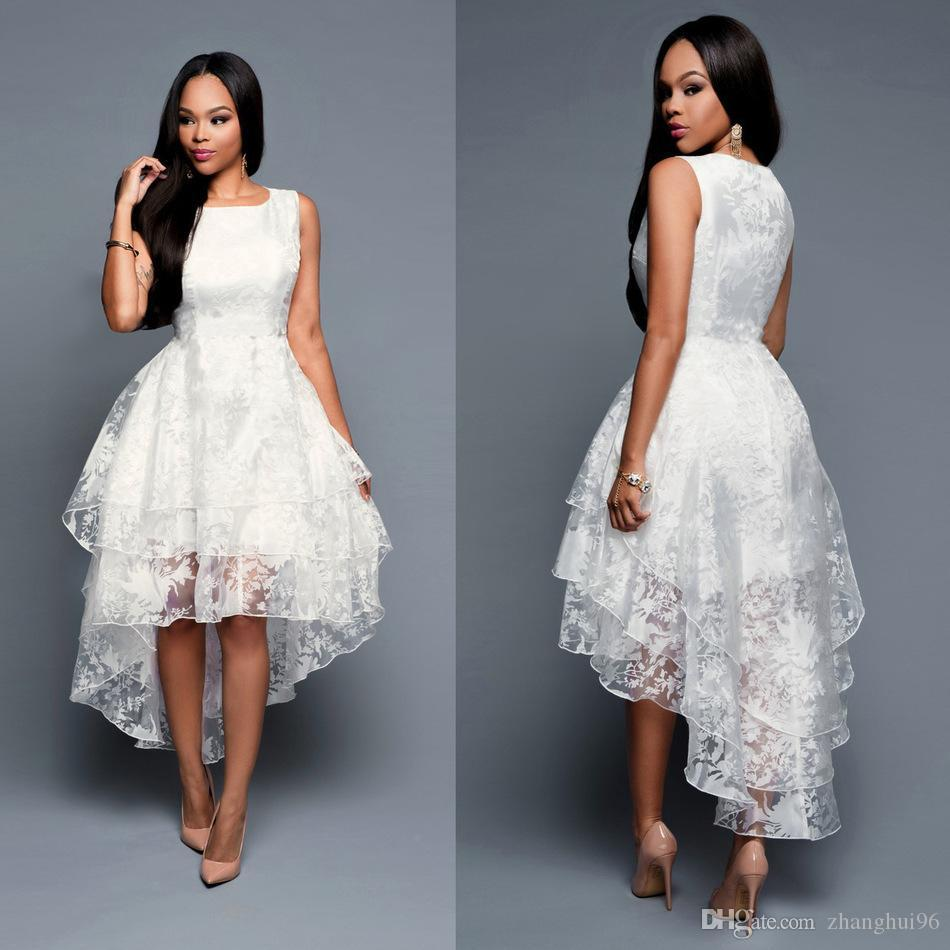 966559608 Sin mangas Ou delantero largo detrás corto tres capas chaleco falda mini  club vestido moda vestido blanco maxi mujer para la venta vestidos
