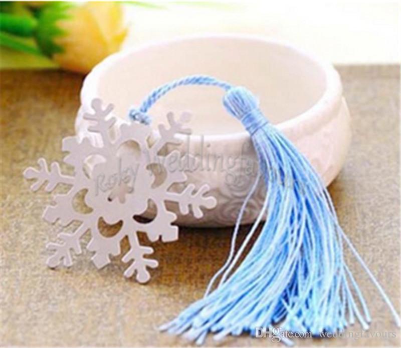 Свободная пересылка / ! Снежинка закладка с BlueTassel Weddiing выступает свадебный душ украшение партии зима Themer партия выступает
