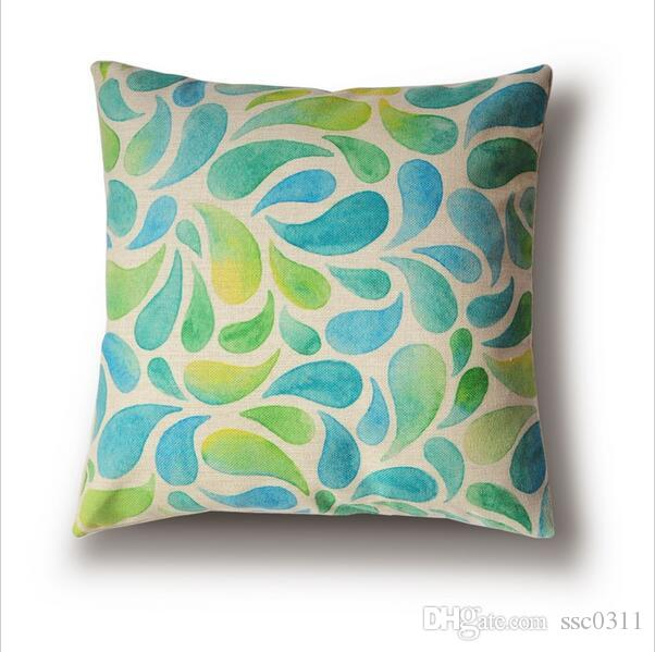 Green And Blue Water Drop Pattern Pillow Cushions Cover, 45cm Pillow Cover,  Can Be Customized Decorative Pillow,Sofa Cushion Outdoor Furniture Cushion  ...