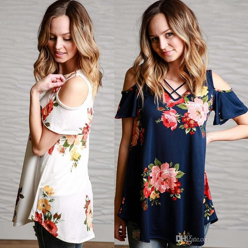 4a420d63c60 Womens Designer T Shirts Cross Front Cold Shoulder Floral Print Plus Size  Loose Tops Short Sleeve Blouse Awesome T Shirt Design Shirt And Tshirt From  ...