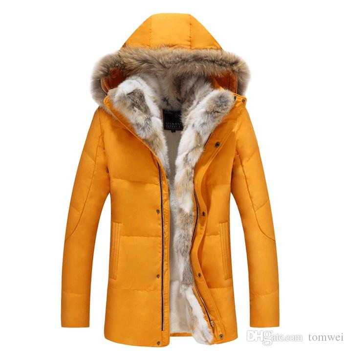 512a4222e91 Real Fur Coat Mens Down Jacket Winter Parkas Couple Clothes Outdoor ...