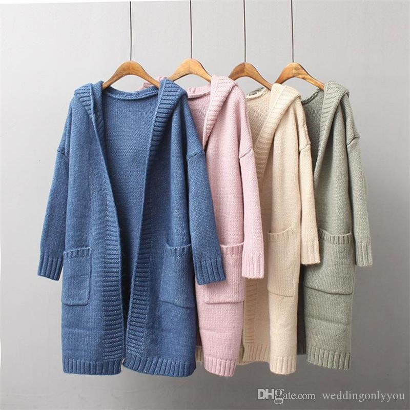 2018 Women Knitted Cardigan Ladies Autumn Long Hooded Coats 2017 ...