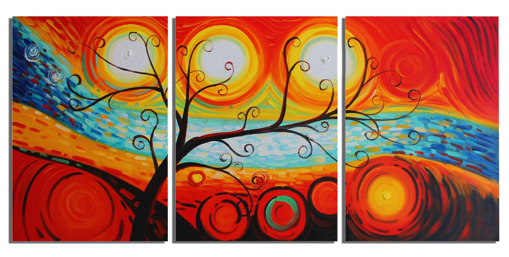 Lovely Compre Rainbow Tree Hand Paint Pintura A Óleo 3 Painel Canvas Art Decoração  Da Casa Modern Abstract Life Tree Painting De Sunshine1172, $43.08 |  Pt.Dhgate.
