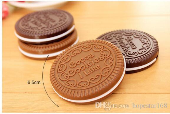 Eco-Friendly Mini biscotti svegli di cacao compatta da tasca specchio specchio mano portatile con il pettine di trucco Strumenti i mi piace