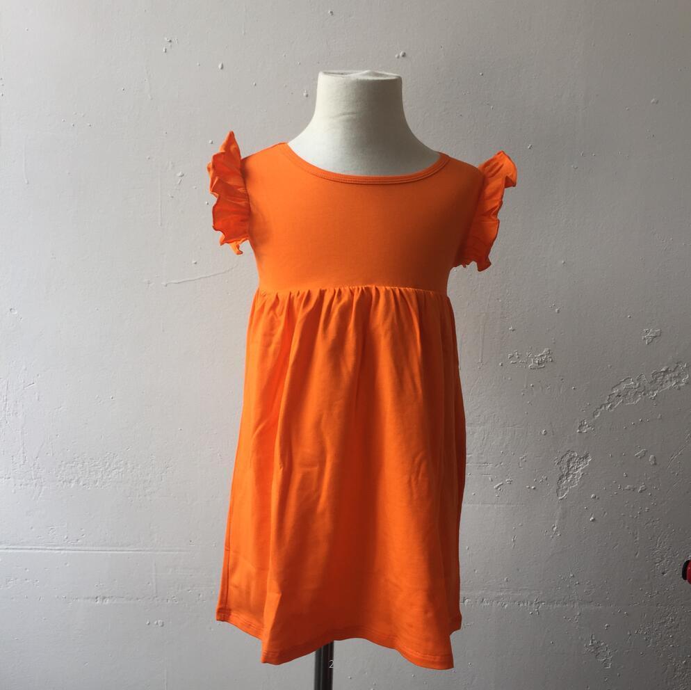 Último diseño de manga del alboroto del bebé del vestido del color del caramelo del bebé del algodón de la colmena