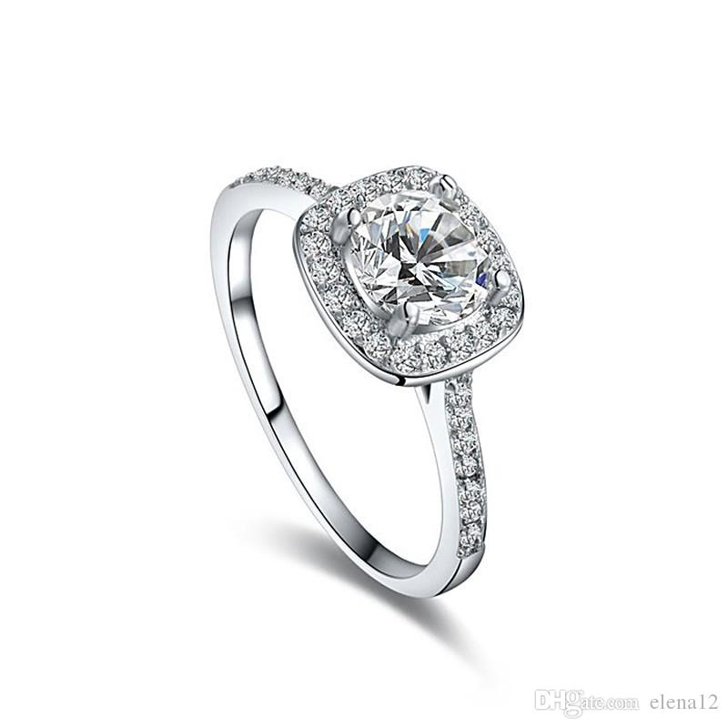 Fashion Engagement Rings For Women Silver Ring Austrian Crystal Jewelry Wedding Rings Christmas Gift 2016 080103