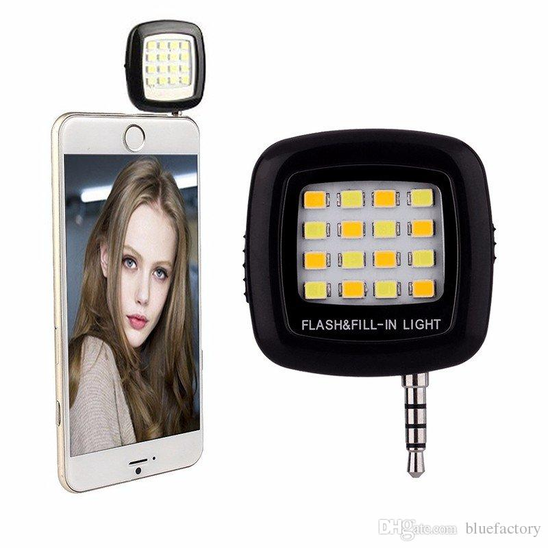Portable Mini 16 Leds Lamp Selfie LED Flash Enhancing Dimmable Flash Fill-in Light Pocket Spotlight for Smartphone Camera Universal