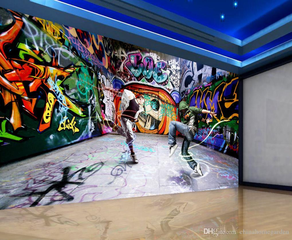 Dancing young street dance graffiti background wall murals for Art mural wallpaper