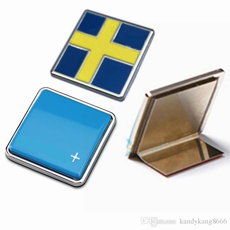 Chrome Metal Pole Bright Blue Star Sweden Flag Car Sticker Styling Car Grille Emblem For Volvo