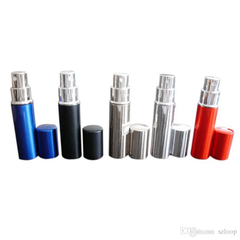 Botella de perfume 5 ml Aluminio Anodizado Compacto Perfume Aftershave Fragancia Cristal Perfume-Botella Color mezclado Nueva llegada 0616001